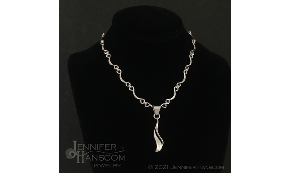 Big image hanscom   ripple pendant on scalloped ripple chain